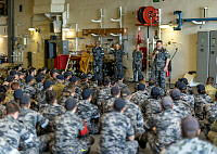 Royal Australian Navy personnel from coastal mine hunter HMAS Yarra have used their dive expertise to recover an anchor and shackles weighing one tonne from the seabed near Ashmore Island recently. The anchor, belonging to Armidale class patrol boat HMAS Bundaberg, was cut lose when it firmly wedged beneath a large boulder and the sea floor during an Operation Resolute patrol. HMAS Yarra, also assigned to Operation Resolute, undertook the anchor's recovery on 23 June 2014.