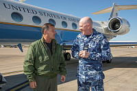 Leading Aircraftman Aaron Oh finalises the stocktake in the warehouse at Australia's main operating air base in the Middle East Region.