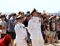 Commander Surface Forces Australia (COMAUSSURFOR) Commodore Jonathan Mead, RAN and Commanding Officer HMAS Stirling Captain Angela Bond, RAN farewell the crew of HMAS Toowoomba as they depart Fleet Base West for a six-month deployment to the Middle East.