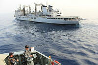 HMAS Newcastle approaches French Command and Replenishment Ship FS Somme for a Replenishment at Sea (RAS).