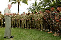 Chief of Defence Force, General David Hurley, AC, DSC addresses members from the Combined Task Force 635 (CTF 635) at the Guadalcanal Beach Resort (GBR).