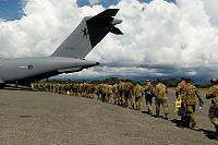 Members from Combined Task Force 635 (CTF 635) board the No. 36 Squadron C-17 Globemaster to commence their journey home on completion of their deployment.