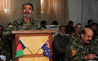 An officer of the Afghan National Army's 4th Brigade 205th Corps briefs on the combined operation by Afghan National Security Forces in the Kamisan Valley from 14-18 August 2013.