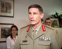 Major General Angus Campbell, DSC, AM is promoted to the rank of Lieutenant General by the Chief of the Defence Force, General David Hurley, AC, DSC at a small ceremony in Canberra.