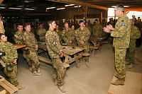 Lieutenant General Gen Ash Power, Chief of Joint Operations, addresses the troops at Multi National Base - Tarin Kot on November 14.