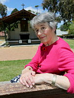 Pictured is Mrs Patti Lomax at the Changi Prisoner of War Chapel at Royal Military College Duntroon (RMC).