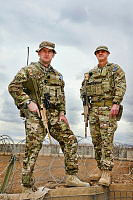 (L-R) Lieutenant Colonel Mick Bye, Commanding Officer and Warrant Officer Class One Craig Cook, Regimental Sergeant Major of the 2nd Cavalry Regiment Task Force at Multi National Base - Tarin Kot.