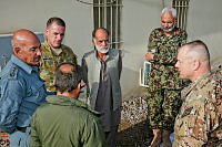 (L-R) Colonel Hazir Kalan from the Afghan National Police, Lieutenant Colonel Paul Duncan from Combined Team Uruzgan, Colonel Ghulam Dasiger from the National Directorate of Security, Lieutenant Colonel Kakul Shah from the Afghan National Army and Lieutenant Colonel Randy R. Freeman from the Uruzgan Liason Team meet at the Operational Coordination Centre - Provincial.