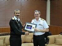 Director General Maritime Security Agency, Rear Admiral Athar Mukhtar and Commander Combined Task Force 150, Commodore Daryl Bates exchange gifts