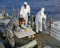 Suspected heroin is destroyed by dispersal from the transom of HMAS Melbourne in the Middle East Area of Operations.