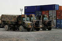 Australian trucks and containers at the Logistics Annex, Kandahar Air Field, Afghanistan.