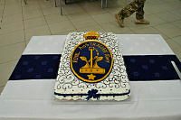 A specially made Navy Birthday cake for the Royal Australian Navy's 113th Birthday at the All Ranks Mess, Camp BAIRD, United Arab Emirates.