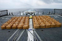 One hundred and fifty one - twenty kilogram bags of illegal narcotics seized from a skiff operating in the Arabian Sea.