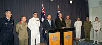 The Prime Minister of Australia, The Honourable Mr Tony Abbott and the Minister for Defence, Senator the Honourable David Johnston speak to the press alongside our New Australian Defence Force Command Team at today's announcement.