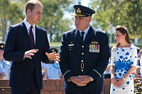 Their Royal Highnesses, the Duke and Duchess of Cambridge arrive at the RAAF Base Amberley Memorial Garden, and are met by Senior Australian Defence Force Officer, Air Commodore Tim Innes.