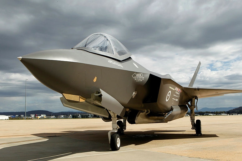 A 'mock-up' of the F-35A Lightning II aircraft (commonly known as the Joint Strike Fighter) on display at Defence Establishment Fairbairn.