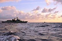The Royal Australian Navy Anzac Class Frigate HMAS Stuart is joined by the RAN Collins Class Submarine HMAS Sheean during a routine transit and training exercise off Christmas Island.