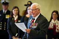 Australian D-Day veteran Bill Evans reads The Ode during the remembrance ceremony at the Anzac Memorial in Hyde Park, Sydney.