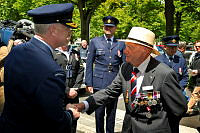 Vice Chief of the Defence Force Air Marshal Mark Binskin AC (left) greets Australian D-Day veteran Bill Purdy prior to the Legion of Honour medal presentation ceremony in Caen, France.