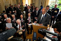 French Minister for Veteran's Affairs Kader Arif addresses D-Day veterans and the media during the Legion of Honour medal presentation ceremony in Caen, France.