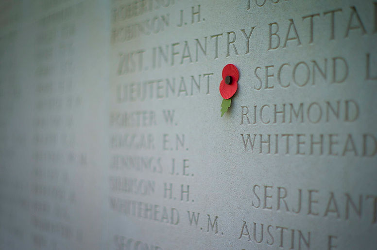 A lone poppy adjourns the Wall of Remembrance at the Australian National Memorial at Villers Bretonneux, France.
