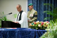2nd Commando Regiment Chaplain, Padre K leads the ceremony in prayer as a mark of respect to Lance Corporal Todd Chidgey and his sacrifice.