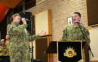 Australian Army Band musicians Lance Corporal David Andrews (right) and Musician Fiona Wilkins rehearse at the Royal Military College – Duntroon prior to departing for the 2014 Basel International Tattoo, Switzerland, from July 14-26.