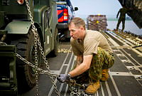Royal Australian Air Force Leading Aircraftman David Wilson secures a forklift truck on board a C-17A Globemaster bound for Kharkiv International Airport in the Ukraine.
