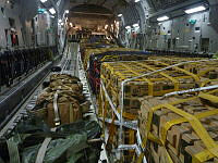 A Royal Australian Air Force C-17A Globemaster strategic airlift aircraft is seen loaded with military stores destined for delivery to northern Iraq.