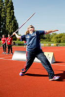 Royal Australian Navy Leading Seaman Boatswain's Mate Kirsty-Lee Brown throws the gold medal-winning Javelin which won the first medal during the Invictus Games in London on September 8.
