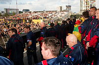 Members of the Australian team are welcomed to Queen Elizabeth Olympic Park in London by a crowd of around 26,000 people for the closing ceremony of the Invictus Games on 14 September 2014.