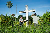 Members of HMAS CHOULES ship's company give the former Catholic Mission Church site in Torokina, Bougainville, a new lease of life during Operation RENDER SAFE 14.
