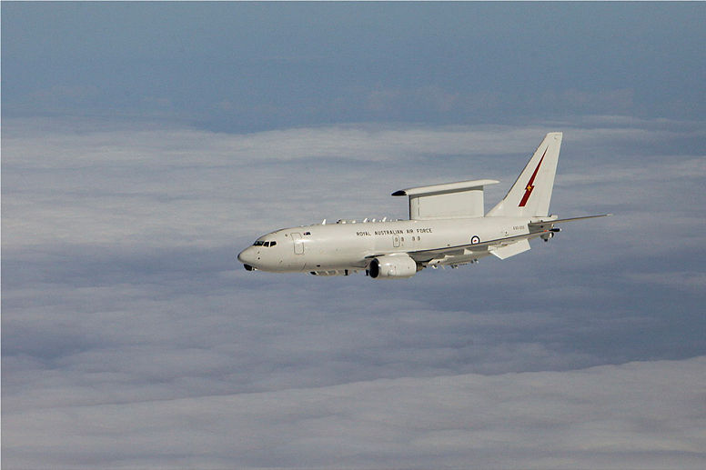 A Royal Australian Air Force E-7A Wedgetail Airborne Early Warning and Control aircraft in the skies of the Middle East.