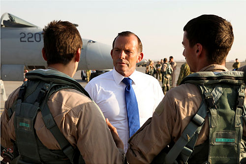 Prime Minister of Australia, The Hon Tony Abbott, MP was on hand to personally greet the crew of a Royal Australian Air Force F/A-18F Super Hornet as they returned to base in the Middle East Region after completing a mission in Iraq.