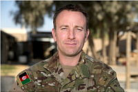 Australian Army Major Huw Kirby at Camp Baker, Kandahar Airfield, Afghanistan. Major Kirby was the commander of Force Protection Element-2.