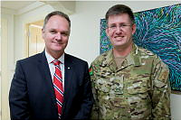 Australian Ambassador to Afghanistan His Excellency Mr Matt Anderson with Commander Joint Task Force 636, Major General David Mulhall, AM, CSC, after the ceremony at the Australian Embassy in Kabul, Afghanistan.