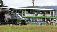 An Australian Army Taipan MRH-90 helicopter interrupted classes when it landed at the Rakiraki Muslim Primary School.