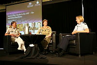 (Left to right) Capitan Michele Miller, Brigadier Simone Wilkie and Air Commodore Kathryn Dunn sharing their military experiences at the Gender in Defence and Security Leadership conference in Canberra.