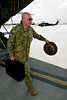 Australian Chief of the Defence Force, General David Hurley steps of a Royal Australian Air Force C-130J Hercules aircraft after arriving at Kabul, Afghanistan during his last operational visit before retiring.