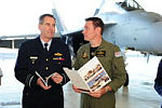 The Chief of the Air Force, Air Vice Marshal Geoff Brown discusses the details of the 2013 Defence White paper with 1 Squadron 'A' Flight Commander Shannon Hudson.