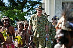 Residents of Wewak welcome Air Commodore Ken Quinn during the opening ceremony for Pacific Partnership 2013.