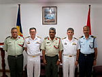 Pictured from L-R: Chief of Staff of the Seychelles People's Defence Forces, Colonel Clifford Roseline; Commander Combined Task Force 150, Commodore Daryl Bates Royal Australian Navy; Chief of the Seychelles People's Defence Forces, Brigadier Leopold Payet; Combined Task Force 150 Plans and Regional Engagement Officer, Commander Michael Turner Royal Australian Navy; and Deputy Chief of Staff of the Seychelles People's Defence Forces, Lieutenant Colonel Michael Rosette.