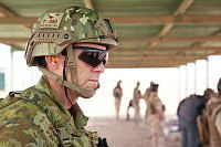 Australian Army soldier Warrant Officer Class Two Peter Williams, from Task Group Taji 4, watches over range training for Iraqi Security Forces at Taji Military Complex, Iraq.