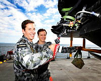 Grant Hatchman and Daniel Weier - School mates keep Navy flying