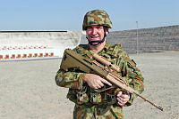 Corporal Greg Whiter on the weapons training range at Al Minhad Air Base in the United Arab Emirates.