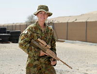 Australian Army Production Clerk, Private Julie Dawson at the Al Minhad Air Base weapons range.
