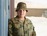 Royal Australian Air Force Supplier, Leading Aircraft Woman Lisa Highfield at the Al Minhad Air Base.
