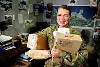Private Danielle Morton, the Combined Task Force 635 Postal Manager, in the mail room at GBR Barracks.