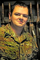 Corporal Michael Davison in the Camp BAKER armoury, is deployed on Operation SLIPPER with Force Support Unit – 9 at Kandahar Air Field, Afghanistan as the Company Quartermaster