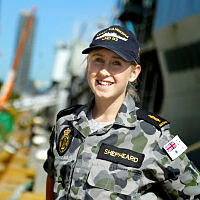 Able Seaman Maritime Logistic Steward (ML-S) Ashlee Shepheard, NUSHIP Canberra on the wharf at Garden Island - East.